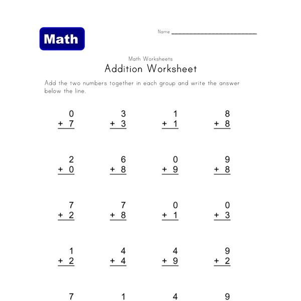 Worksheet Easy Addition Worksheets easy addition worksheets all kids network