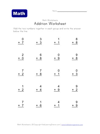 simple addition worksheet 2