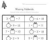 Christmas Missing Addends Worksheet