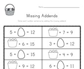 Easter Missing Addends Worksheet