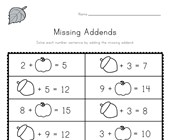 Fall Missing Addends Worksheet