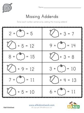 Fall Missing Addends Worksheet | All Kids Network