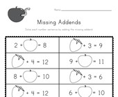 Fruit Missing Addends Worksheet