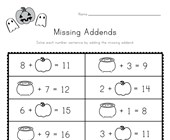Halloween Missing Addends Worksheet