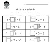 School Missing Addends Worksheet