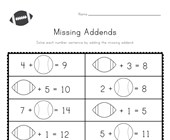 Sports Missing Addends Worksheet