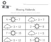 Summer Missing Addends Worksheet