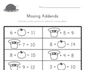 Thanksgiving Missing Addends Worksheet