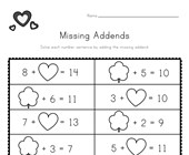 Valentine's Day Missing Addends Worksheet
