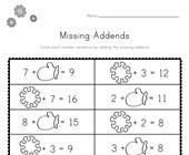 Winter Missing Addends Worksheet
