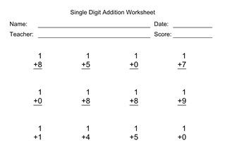 Single Digit Addition Worksheet With First Addend of 1