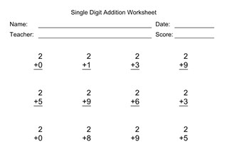 Single Digit Addition Worksheet With First Addend of 2