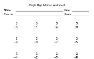 Single Digit Addition Worksheet With First Addend of 3