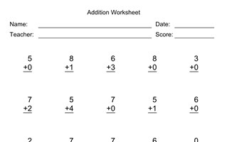 Addition Worksheet With First Addend with 1 Digit, Second Addend with 1 Digit, No Regrouping