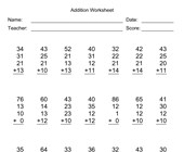 Addition Worksheet With First Addend with 2 Digits, Second Addend with 2 Digits, Third Addend with 2 Digits, Fourth Addend with 2 Digits, No Regrouping