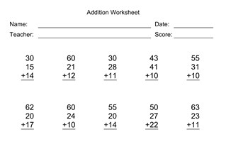 Addition Worksheet With First Addend with 2 Digits, Second Addend with 2 Digits, Third Addend with 2 Digits, No Regrouping