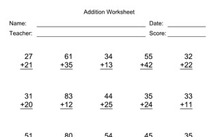 Addition Worksheet With First Addend with 2 Digits, Second Addend with 2 Digits, No Regrouping