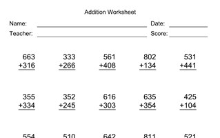 Addition Worksheet With First Addend with 3 Digits, Second Addend with 3 Digits, No Regrouping