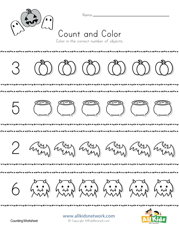 Halloween Count And Color Worksheet All Kids Network