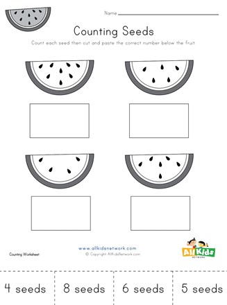 Counting Watermelon Seeds Cut And Paste Worksheet All Kids Network