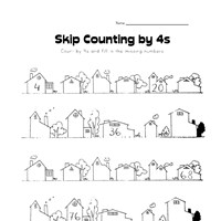 skip counting by fours worksheet