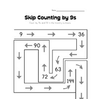 skip counting by nines worksheet