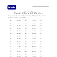 5 minute drill division worksheet