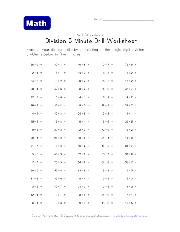 5 Minute Drill Division Worksheet | All Kids Network