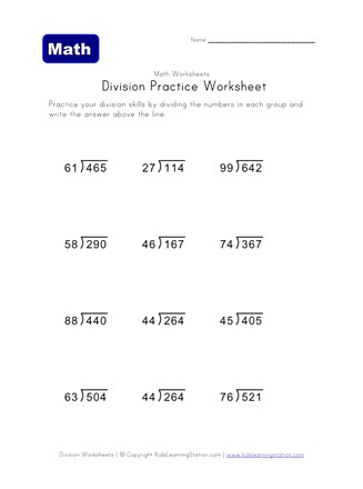 division practice worksheet 6