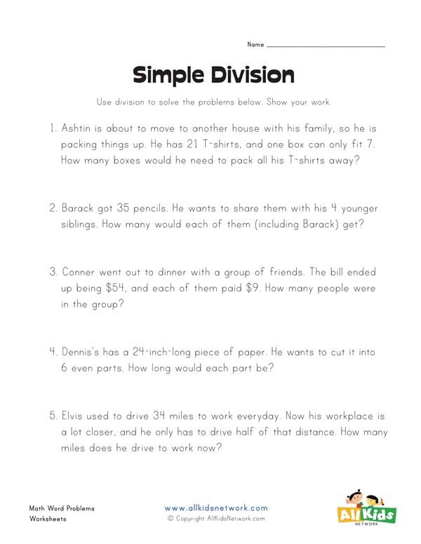 Simple division word problems worksheet all kids network ibookread PDF