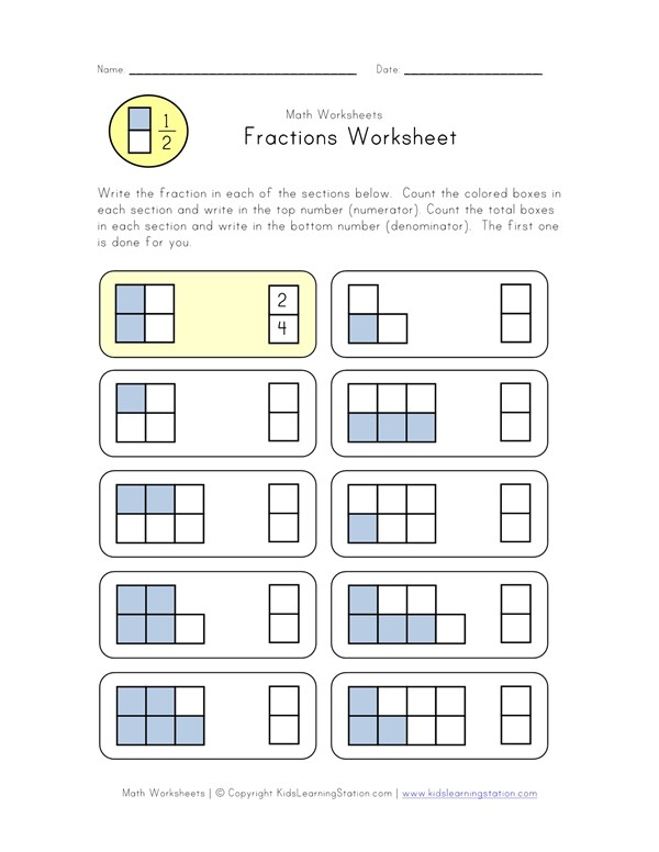 Beginner Fractions Worksheet | All Kids Network