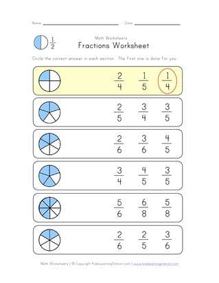 circle fraction worksheet