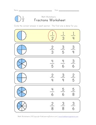 circle fractions worksheet