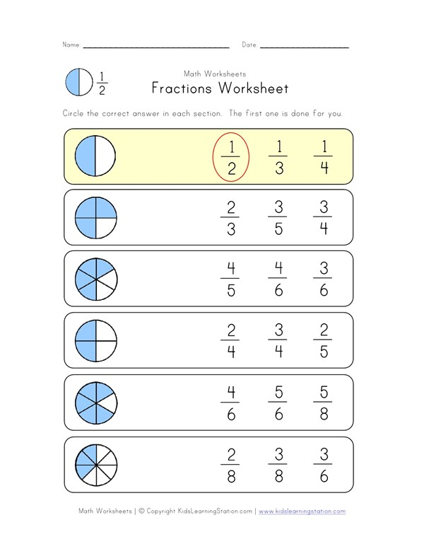 Circle Fractions Worksheet | All Kids Network