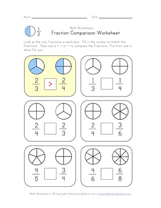 compare fractions worksheet