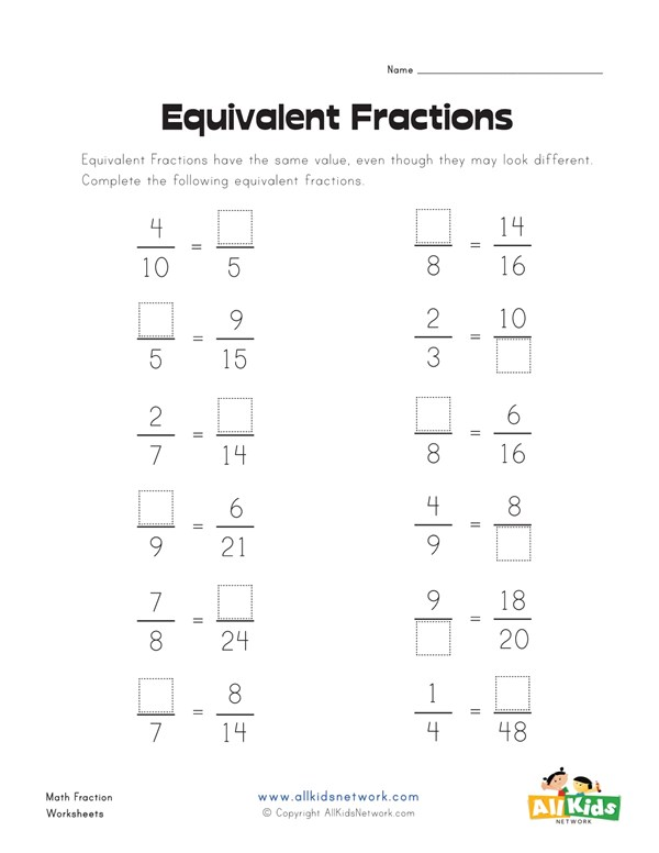 Making equivalent fractions worksheet all kids network ccuart Images