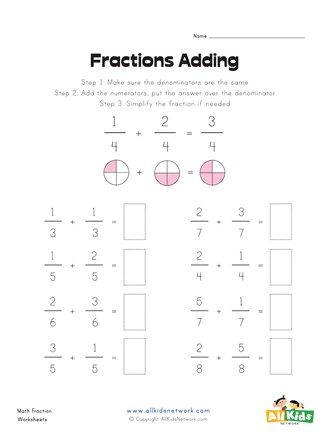 8 Simple Fraction Addition Problems