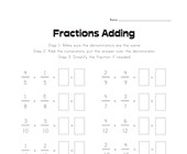 Adding Like Fractions Worksheet