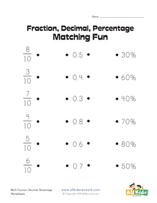 Matching Fractions, Decimals and Percentages Worksheet