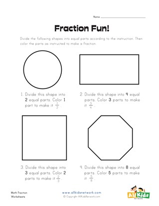 Fraction Fun Worksheet 1