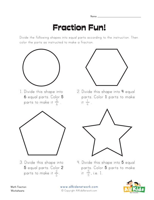 fun with fractions worksheet  all kids network