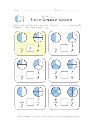 fraction comparison worksheet
