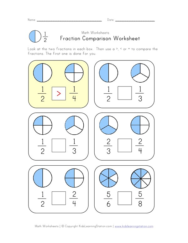 Fraction Comparison Worksheet | All Kids Network