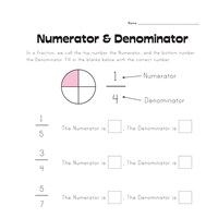 Numerator and Denominator Worksheet | All Kids Network