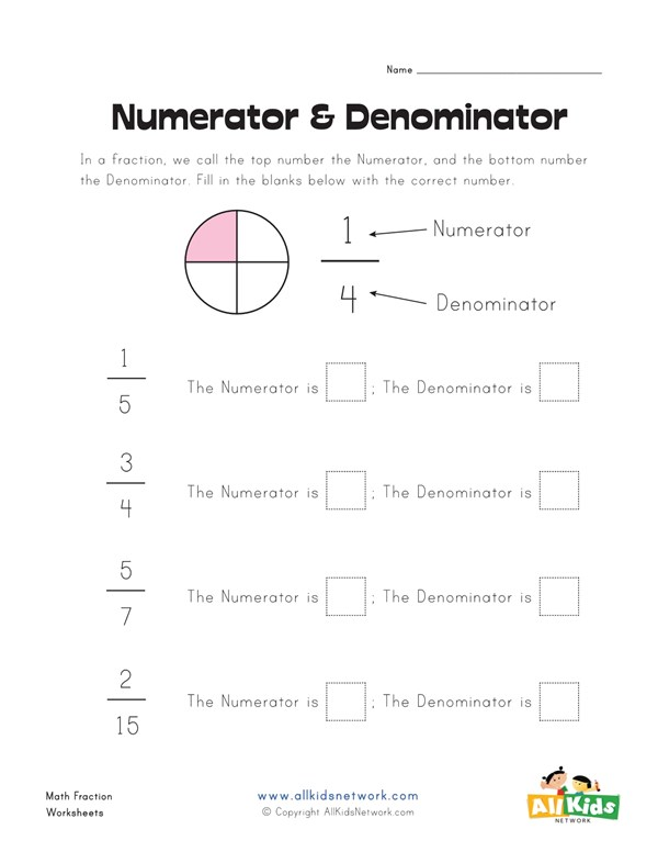 Numerator And Denominator Worksheet All Kids Network