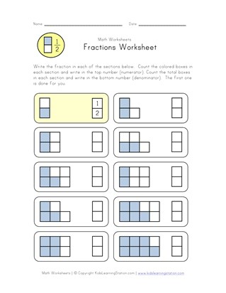 learn fractions worksheet
