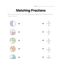 Matching Fractions Worksheet 1