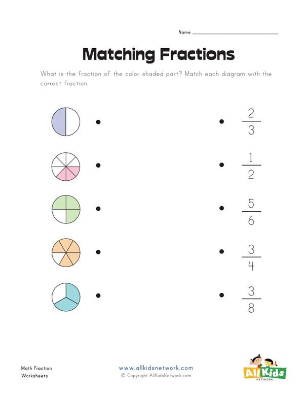 matching fractions worksheet  all kids network