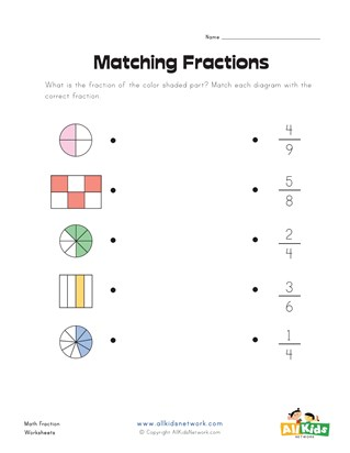 Matching Fractions Worksheet 2