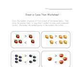 simple greater less worksheet